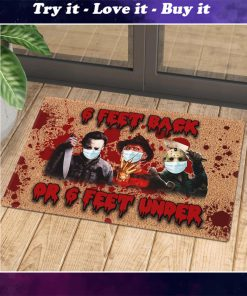 horror killers with mask 6 feet back or 6 feet under doormat