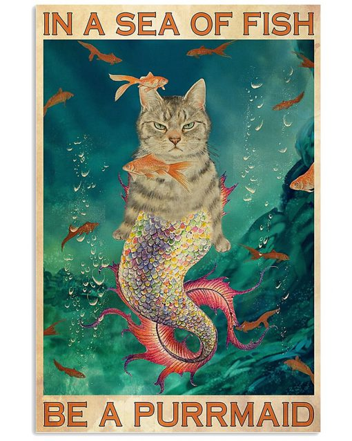 in a sea of fish be a purrmaid cat retro poster 1