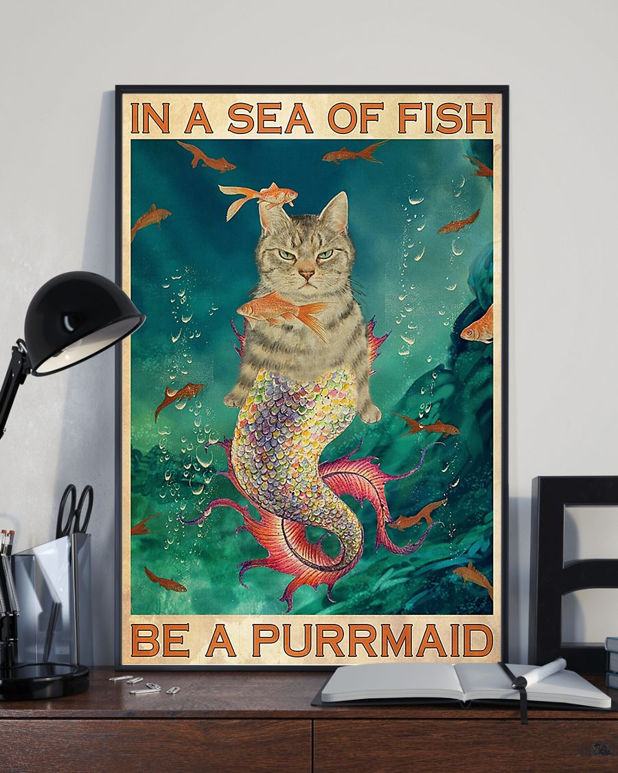 in a sea of fish be a purrmaid cat retro poster 2