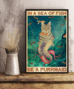 in a sea of fish be a purrmaid cat retro poster 3