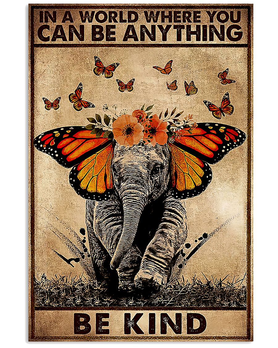 in a world where you can be anything be kind elephant retro poster 1