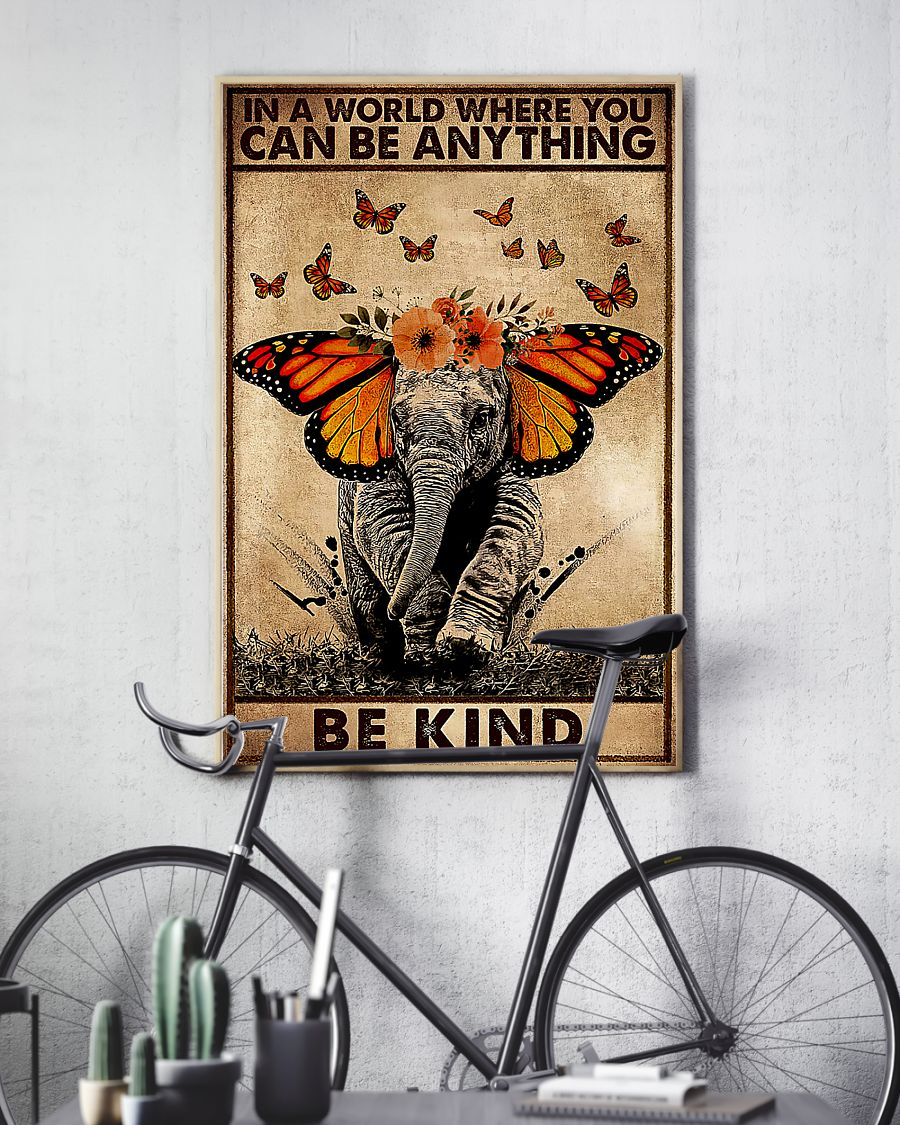 in a world where you can be anything be kind elephant retro poster 4
