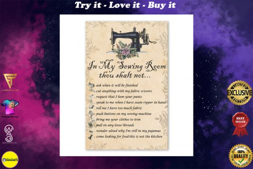 in my sewing room thou shalt not bedroom decor poster