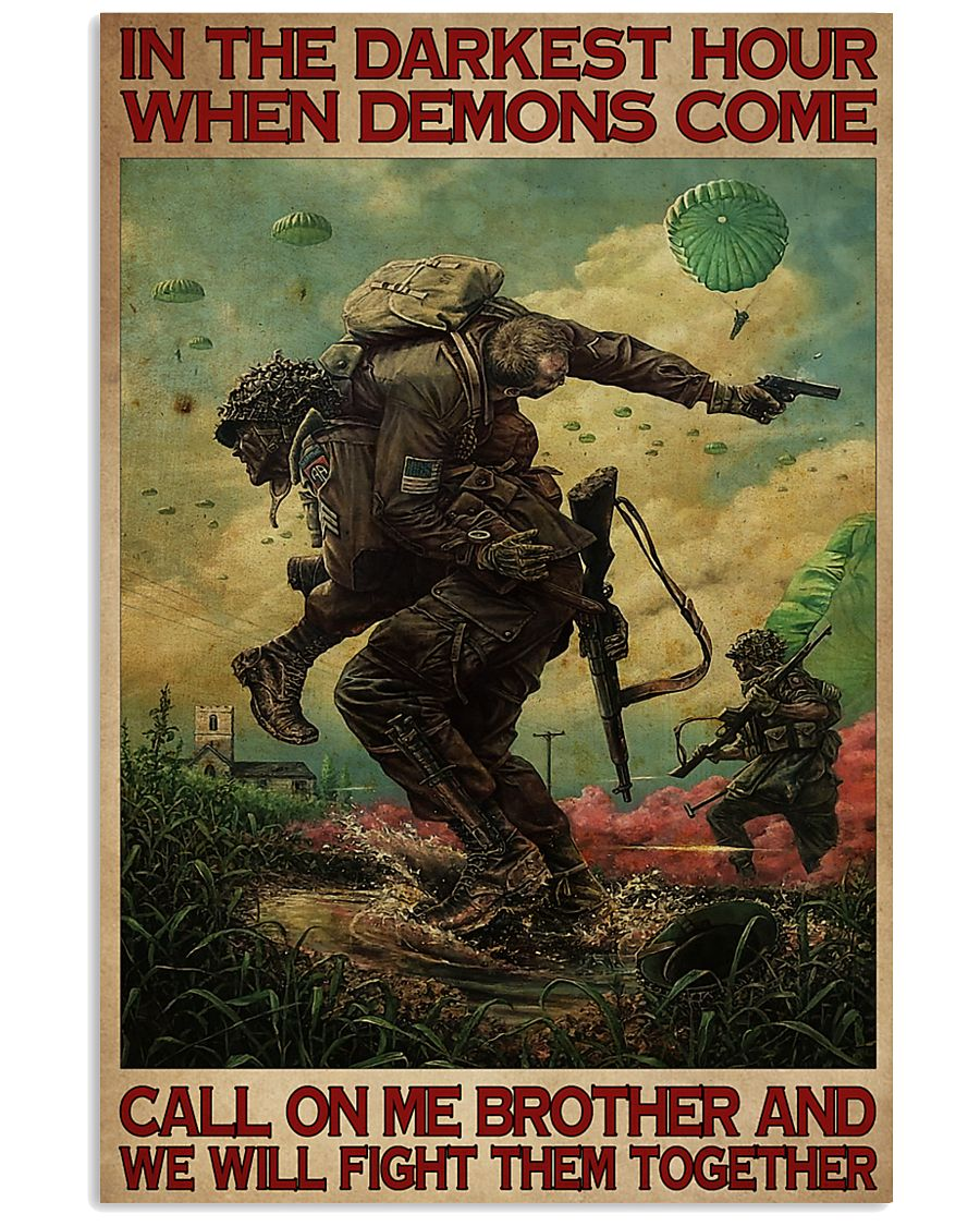 in the darkest hour when demons come call on me military retro poster 1