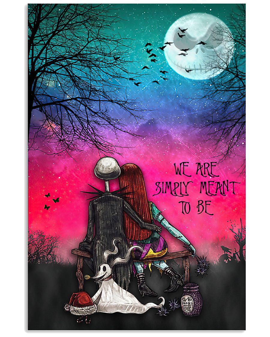 jack skellington and sally we are simply meant to be retro poster 1