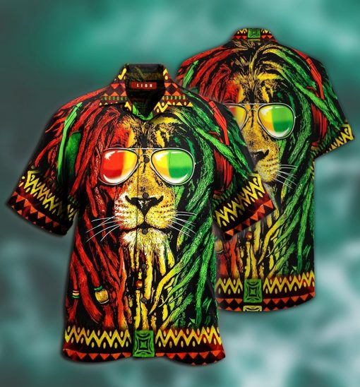 jamaica lion full printing hawaiian shirt 1