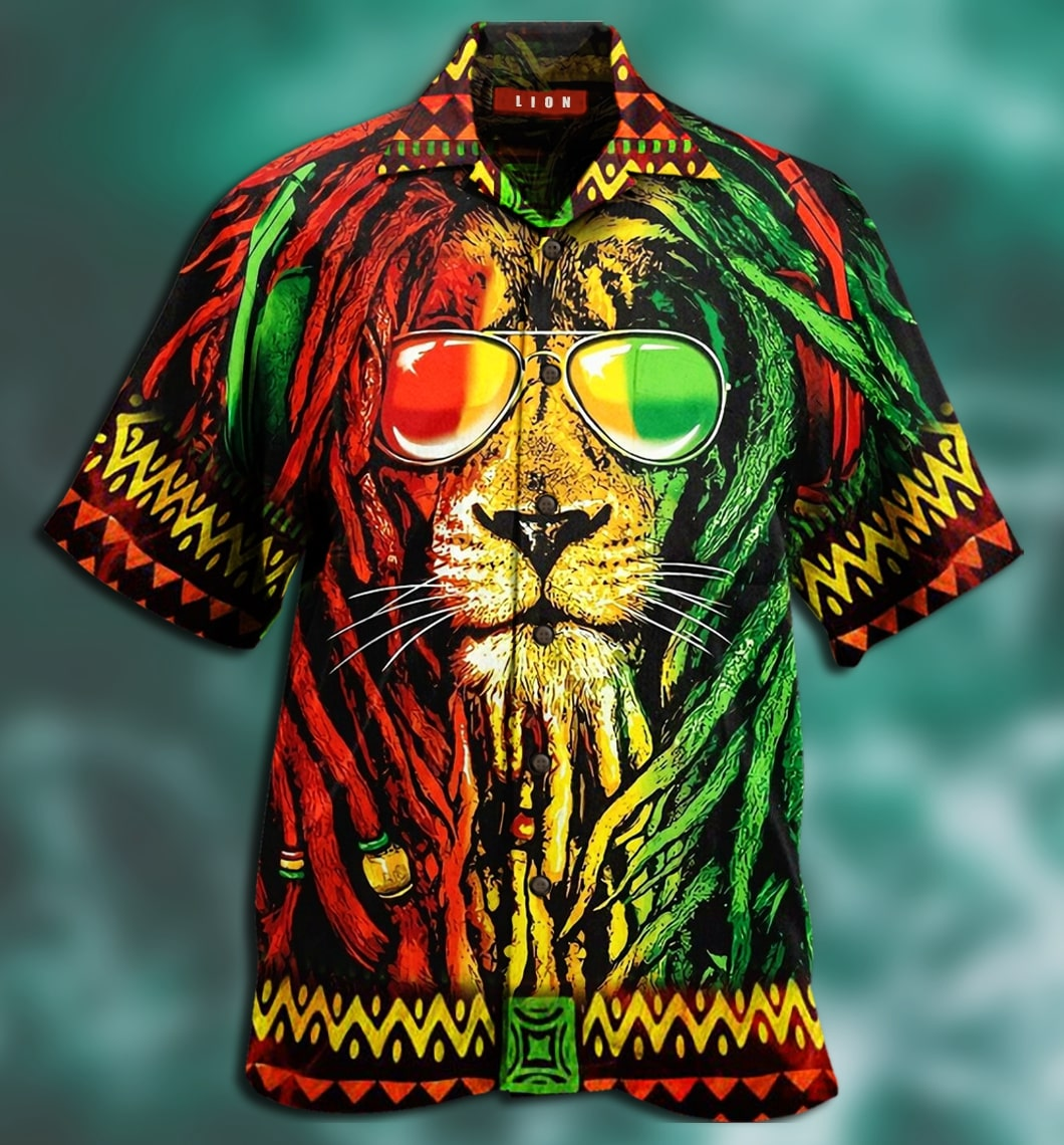 jamaica lion full printing hawaiian shirt 3