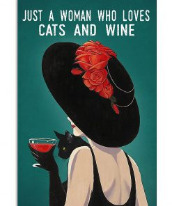 just a woman who loves cats and wine retro poster 1