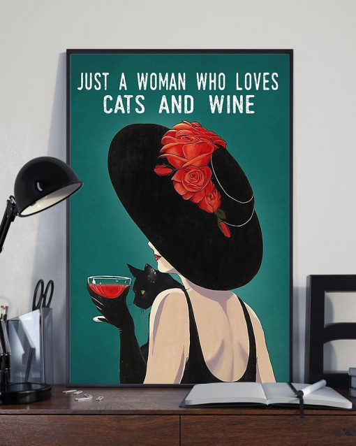 just a woman who loves cats and wine retro poster 2