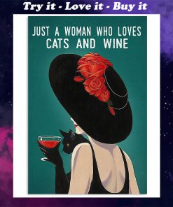 just a woman who loves cats and wine retro poster