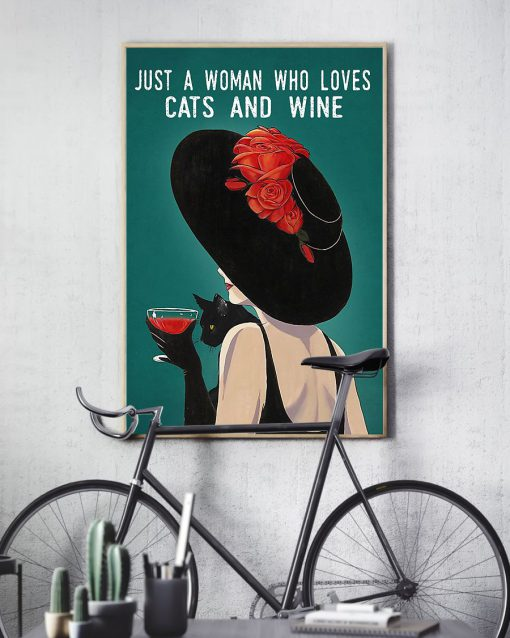 just a woman who loves cats and wine retro poster 3