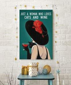 just a woman who loves cats and wine retro poster 4