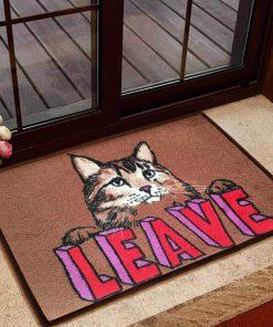 leave cat doormat 1