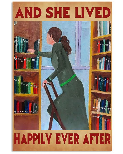 librarian and she lived happily ever after retro poster 1