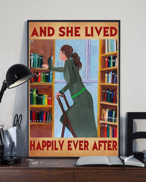 librarian and she lived happily ever after retro poster 2