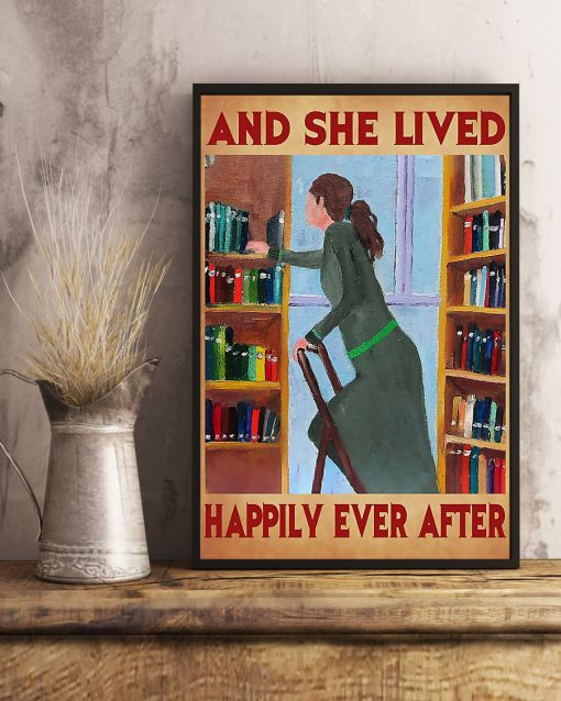 librarian and she lived happily ever after retro poster 3