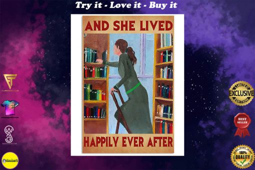 librarian and she lived happily ever after retro poster