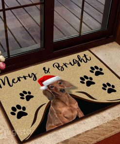 merry and bright dachshund christmas doormat 1