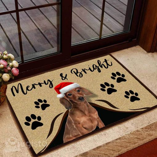 merry and bright dachshund christmas doormat 1 - Copy