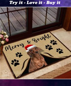 merry and bright dachshund christmas doormat