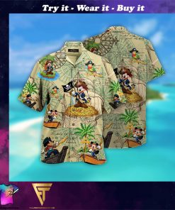 mickey mouse pirate full printing hawaiian shirt