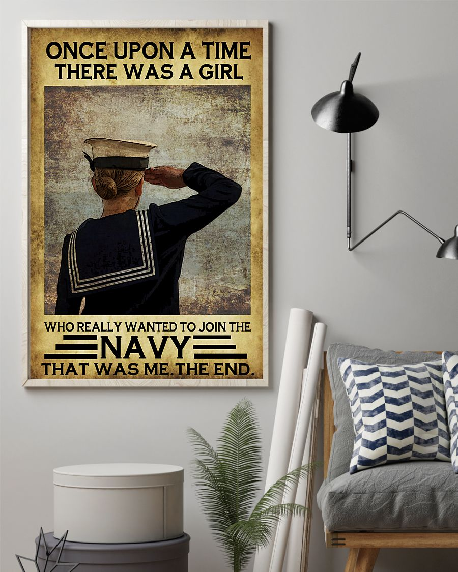 once upon a time there was a girl who really wanted to join the navy retro poster 2