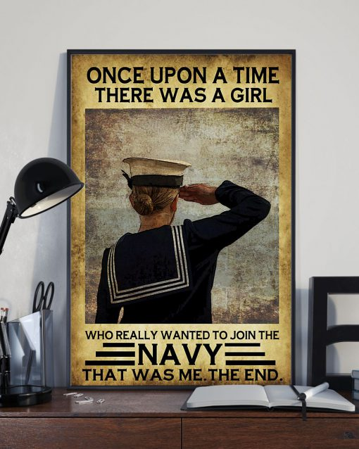 once upon a time there was a girl who really wanted to join the navy retro poster 3