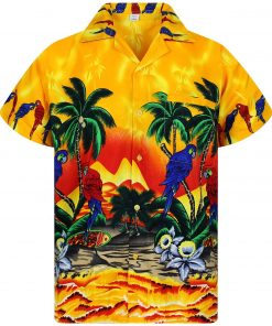 parrot flowers funky full printing hawaiian shirt 1 - Copy
