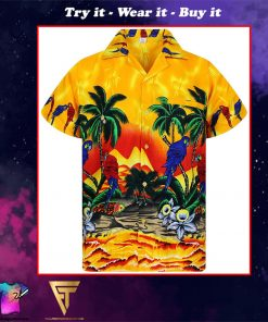 parrot flowers funky full printing hawaiian shirt