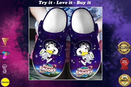 planet snoopy and woodstock in space crocs