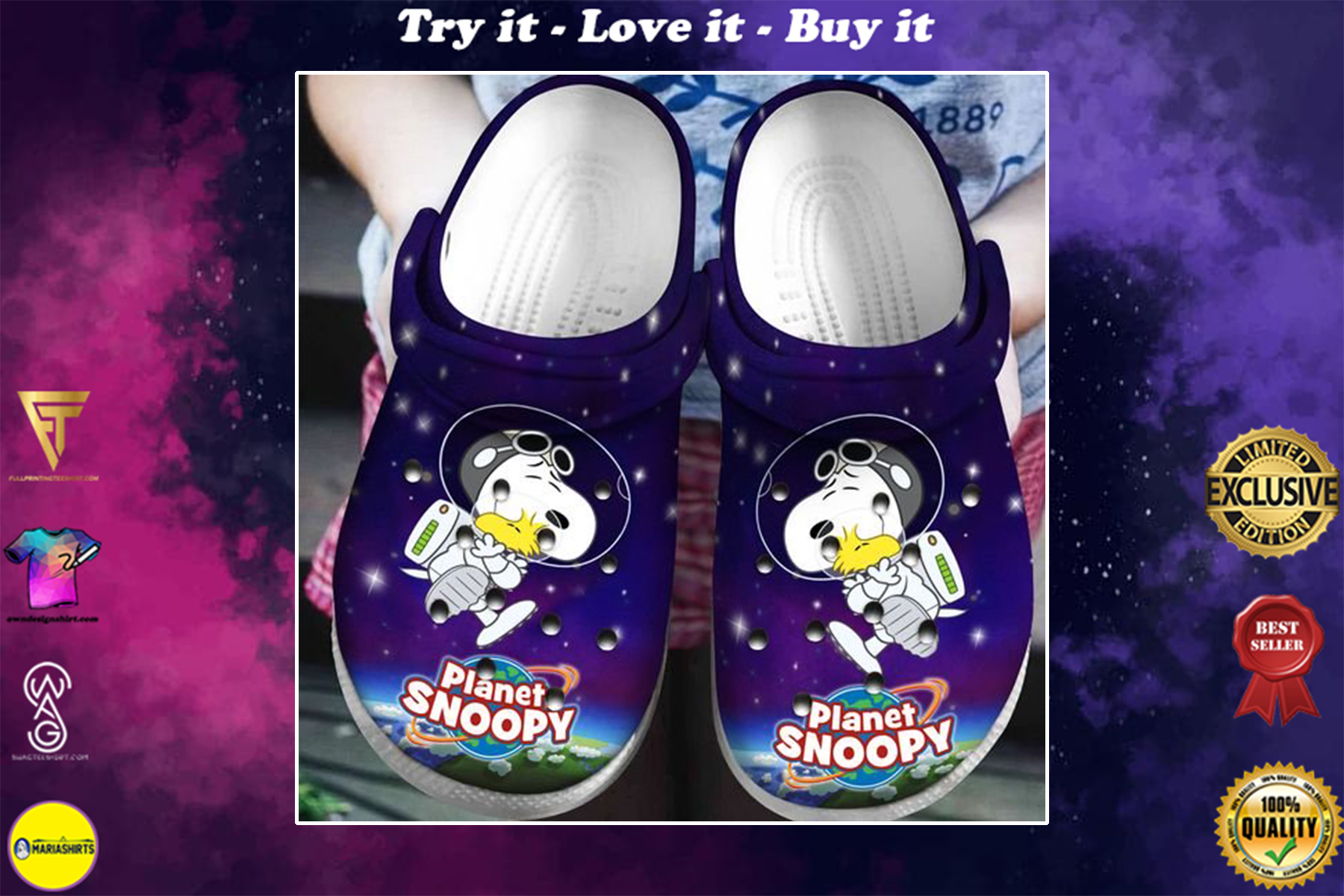 planet snoopy and woodstock in space crocs - Copy