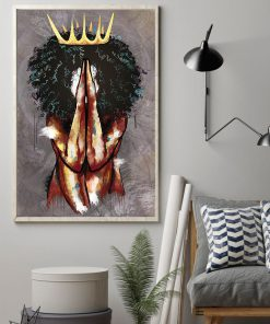 praying black queen watercolor poster 2