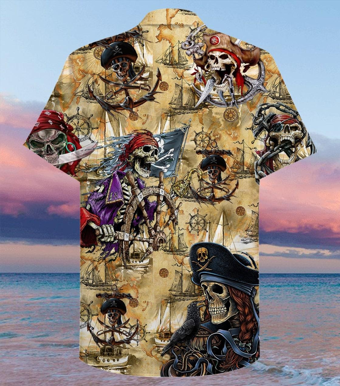 sea map pirate skull full printing hawaiian shirt 2