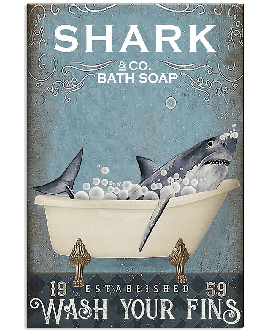shark co and bath soap established wash your fins retro poster 1