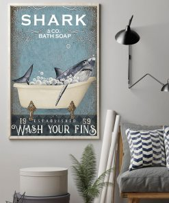 shark co and bath soap established wash your fins retro poster 2
