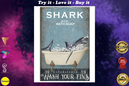 shark co and bath soap established wash your fins retro poster