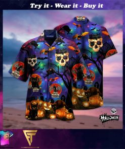 skull black cat halloween full printing hawaiian shirt
