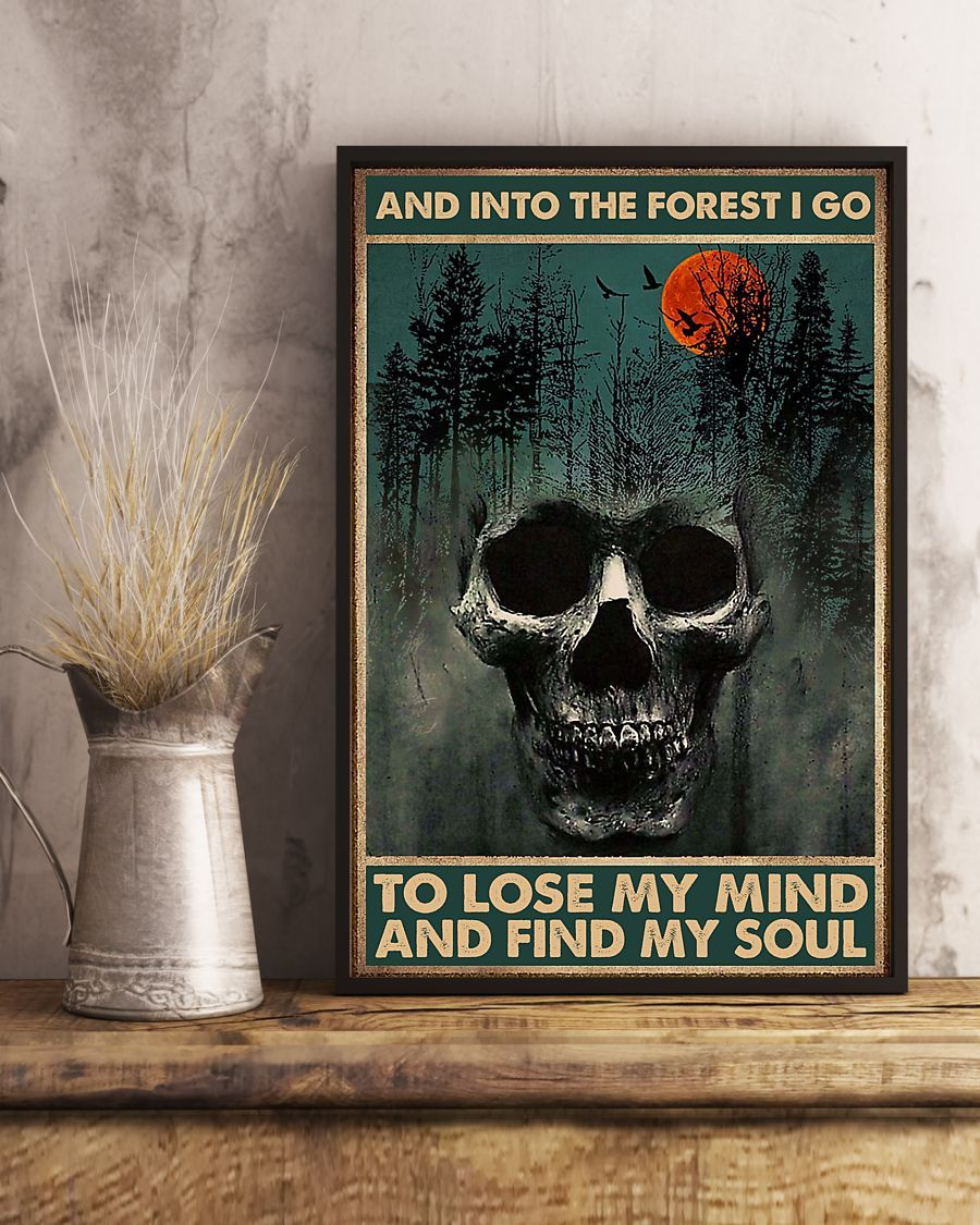 skull forest and into the forest i go to lose my mind and find my soul retro poster 3
