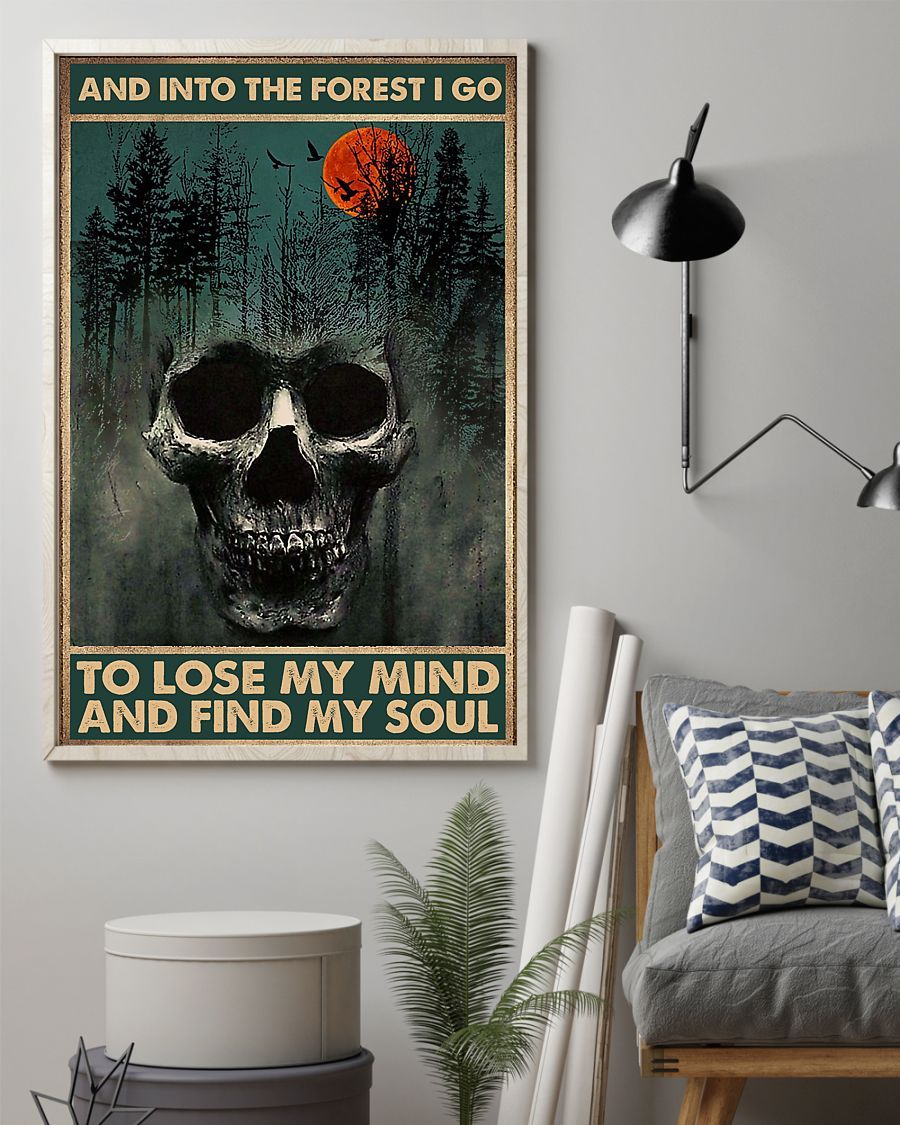 skull forest and into the forest i go to lose my mind and find my soul retro poster 4