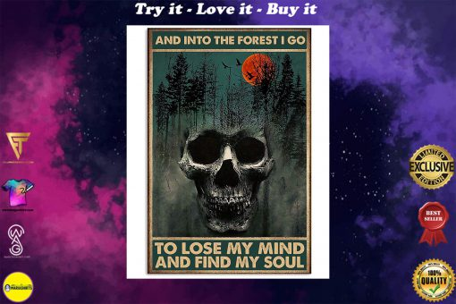 skull forest and into the forest i go to lose my mind and find my soul retro poster