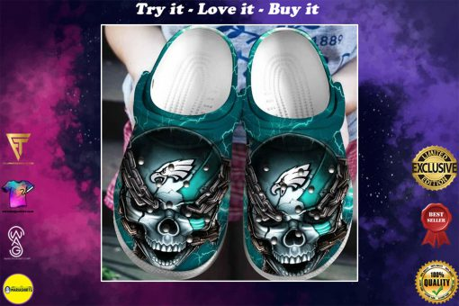 skull philadelphia eagles football crocs - Copy