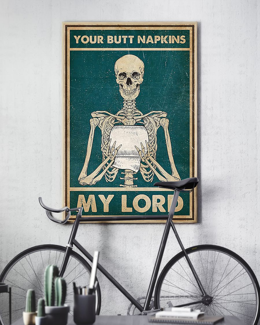 skull your butt napkins my lord retro poster 4