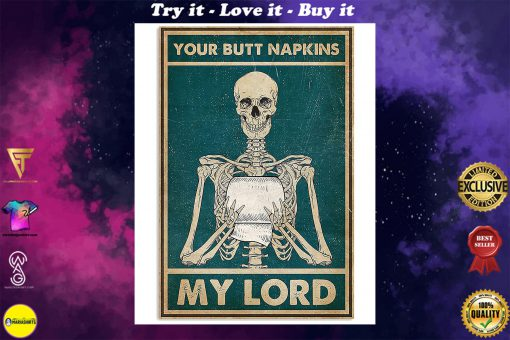 skull your butt napkins my lord retro poster