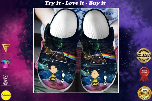 snoopy and charlie brown the dark side of the moon crocs - Copy