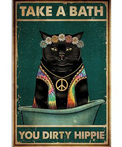 take a bath you dirty hippie black cat retro poster 1