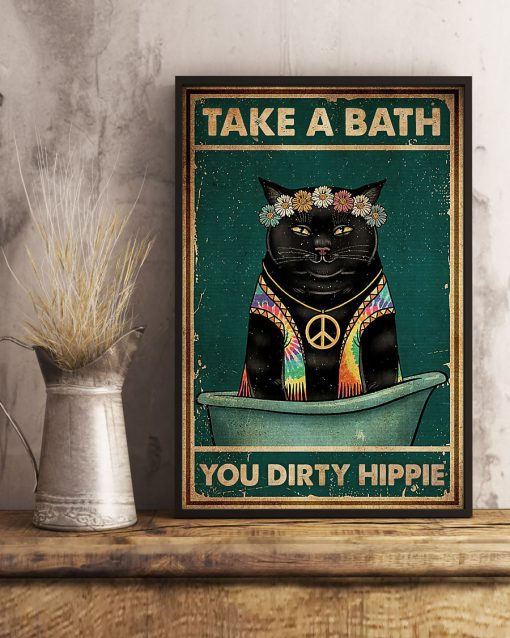 take a bath you dirty hippie black cat retro poster 3