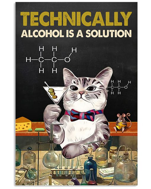 technically alcohol is a solution cat retro poster 1