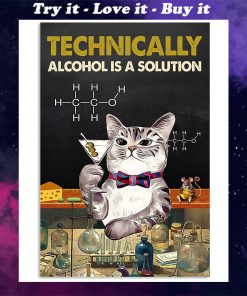 technically alcohol is a solution cat retro poster