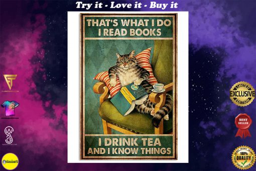 thats what i do i read books i drink tea and i know things cat retro poster