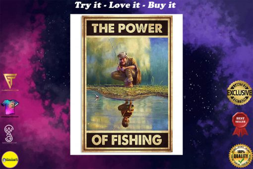 the power of fishing retro poster
